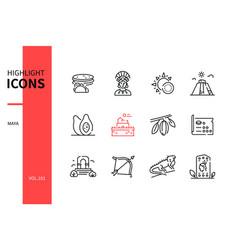 Maya - modern line design style icons set vector