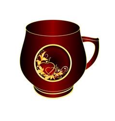Mug of black and red porcelain gold ornament vector