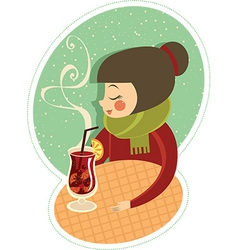 Mulled wine in winter cafe vector image