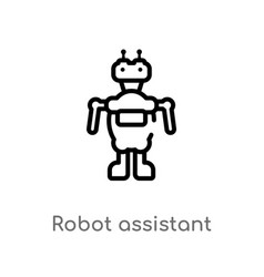 Outline robot assistant icon isolated black vector