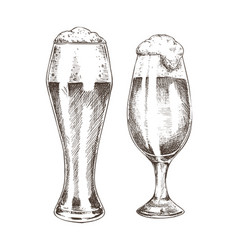 Pair of beer goblets with foamy ale graphic art vector