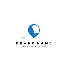 Pin and face logo design vector