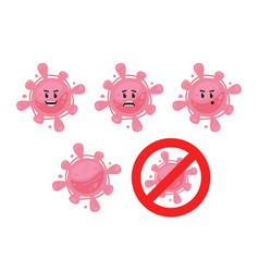 Pink funny cute virus bacteria microbe character vector