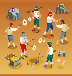 pirates game isometric composition vector image