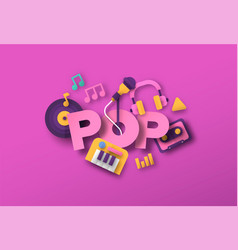 pop music style papercut musical icon template vector image