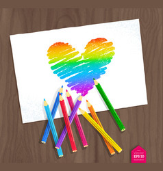 Rainbow heart with color pencils vector