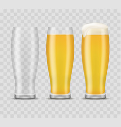 realistic 3d detailed beer mugs set vector image