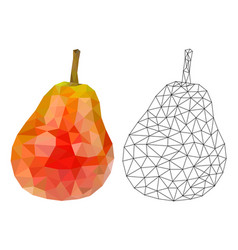 red pear polygonal 3d vector image
