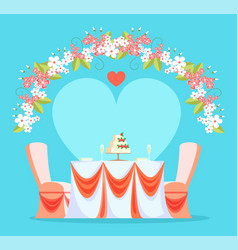 Restaurant wedding reception table and chairs vector
