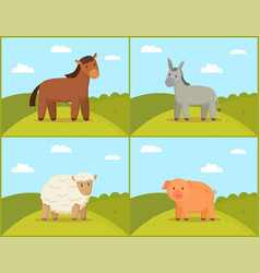 Rural animal set on green hills tint vector