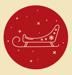 santa s sleigh icon in thin line style vector image