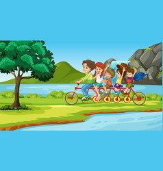scene with family on tandem bike vector image