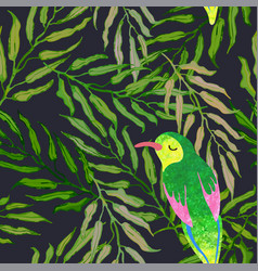 Seamless background with palm leaves and birds vector