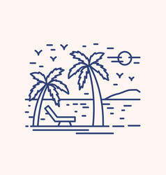 seaside resort vacation lineart vector image