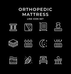set line icons orthopedic mattress vector image