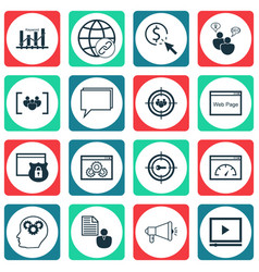 Set of 16 seo icons includes web page performance vector