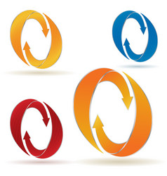 set of circular arrows with stripes vector image