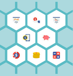 set of finance icons flat style symbols with cash vector image