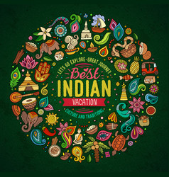 Set of indian cartoon doodle objects vector