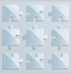 Set of luminous pieces of puzzles vector
