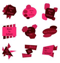 set of nine red back to school badges vector image