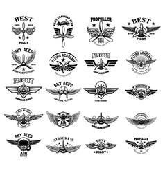 set of vintage airplane emblems design elements vector image