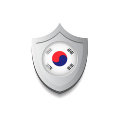 shield sticker with south korea flag and shadow vector image