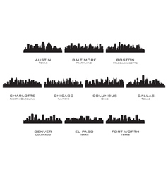 Silhouettes of the USA cities 1 vector