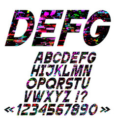Slanting bright alphabet letters glitch art style vector