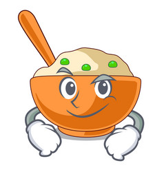 Smirking mashed potato isolated with cartoon vector