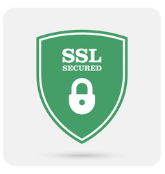 Ssl certificate shield with padlock - secure vector
