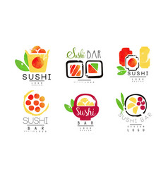 sushi bar logo original design collection vector image