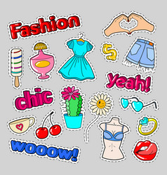 teenager fashion badges patches and stickers vector image