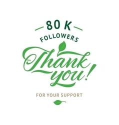 Thank you 80 000 followers card ecology vector
