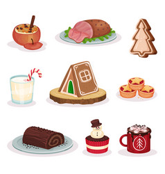 Traditional christmas food and desserts set baked vector