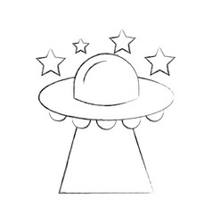 ufo flying stars saucer technology science vector image