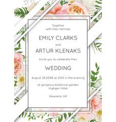 Wedding invite invitation card floral design vector