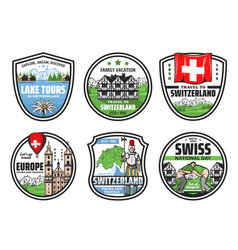 welcome to switzerland city landmark tours icons vector image