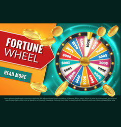 wheel fortune lucky jackpot winner text banner vector image