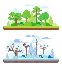 Winter and summer forest scenes in a y flat style vector