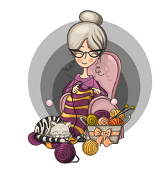 Woman granny sits in a chair and knits knitting vector