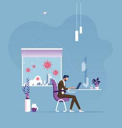 Work from home to avoid viruses vector