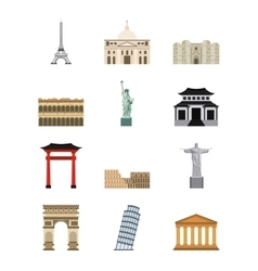 world cities icons vector image