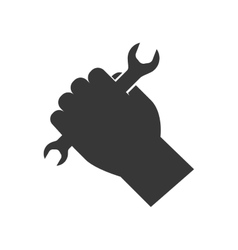 Wrench and hand silhouette icon Tool design vector