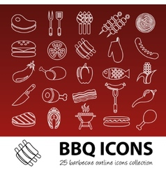 barbecue outline icons vector image vector image