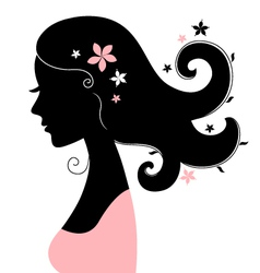 Beautiful woman silhouette with flowers in hair vector image vector image
