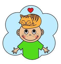 Cartoon boy and sleeping orange cat vector image