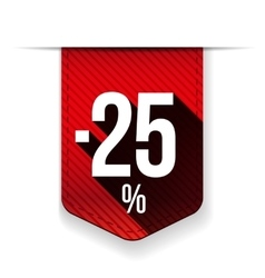 Sale twenty five percent off banner red ribon vector image