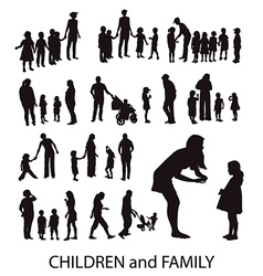 Set of Silhouettes Children and Families vector image