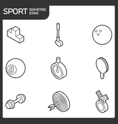 sport outline isometric icons vector image vector image